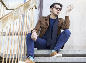 Blogger Ronan Summers from The Wild Swans is styling a pair of Tan Kurt Geiger trainers with a Zara jacket