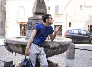 Menswear blogger Ronan Summers street styled in Rome wearing Tommy Hilfiger SS16 collection