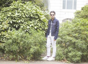 Floral polo shirt and white chinos by Tommy hilfiger shot in London and styled by Ronan Summers