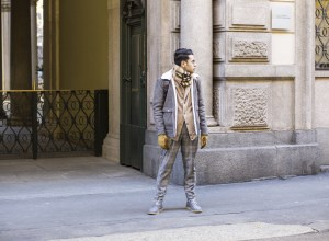 Blogger Ronan Summers attending the Milano moda uomo 2017/18 wearing his shearling leather bomber jacket, checked trousers and toms, outfit on day 4