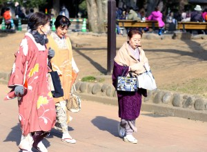 three japanese ladies snapped in Ueno Park, Tokyo, wearing bright colourful Kimonos