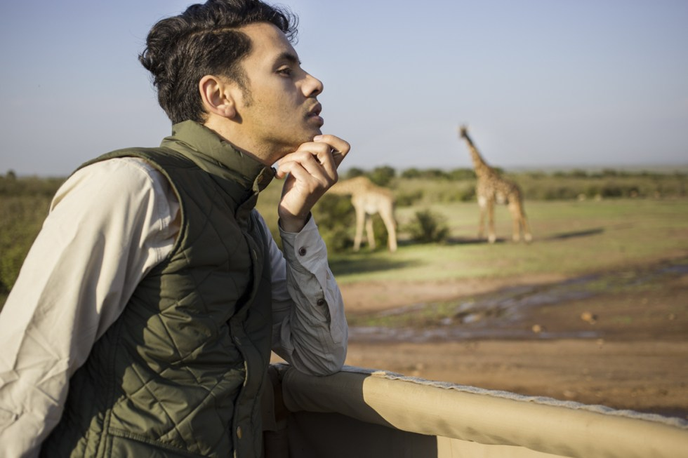 At the masai mara, wearing Royal Robbins safari wear shirt and waistcoat