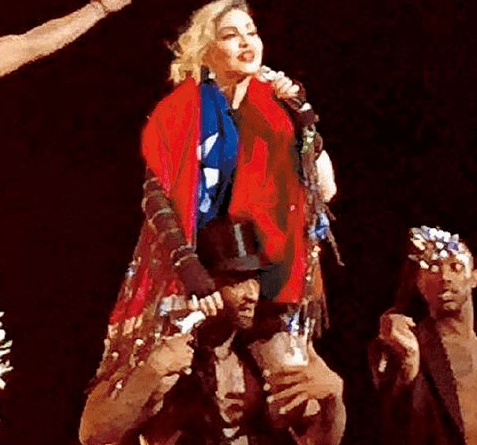 Madonna is seen at her concert in Taipei January 5, 2016 draped in the flag of the Republic of China