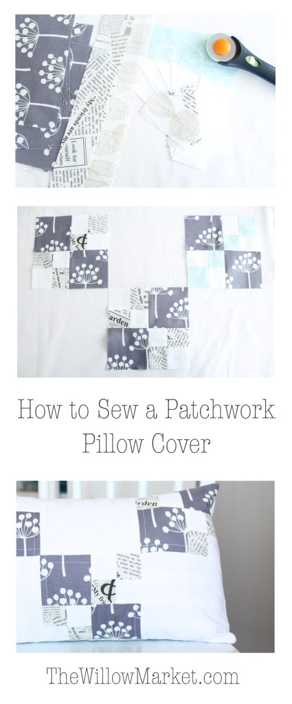 beginner friendly patchwork pillow cover. envelope pillow cover.