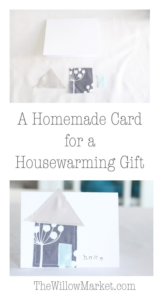 Homemade card for a housewarming gift. Sewing cards with fabric scraps