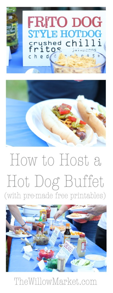 Ingredients for a hot dog bar and buffet. Great food for hosting. Hot dog party.