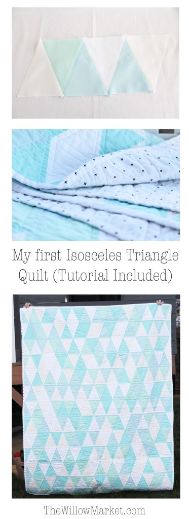 Sewing an isosceles triangle quilt. A blue and white triangle quilt.