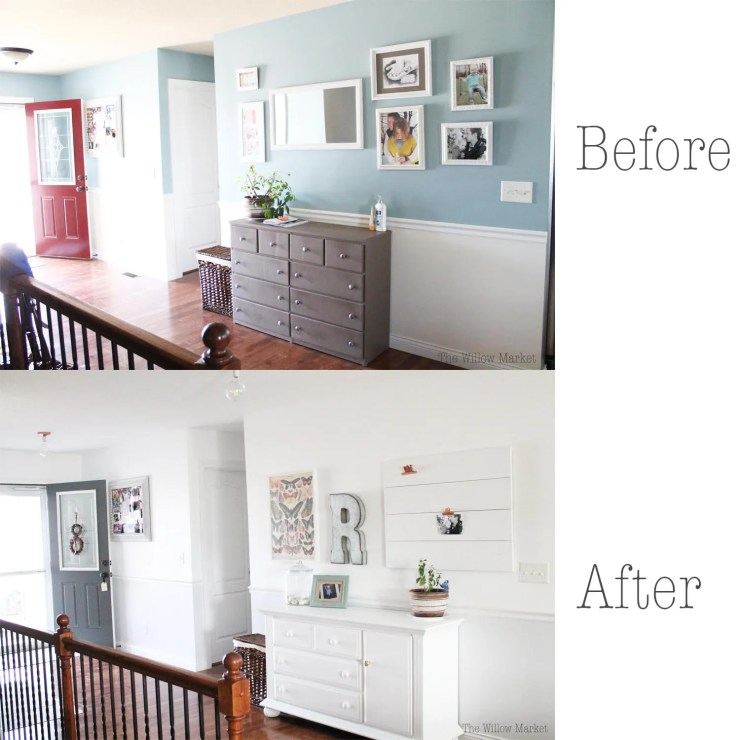 Before and after entry way. Copper lights. Chantilly lace. iced cube silver. Benjamin Moore. Butterfly poster. Galvanized metal R.