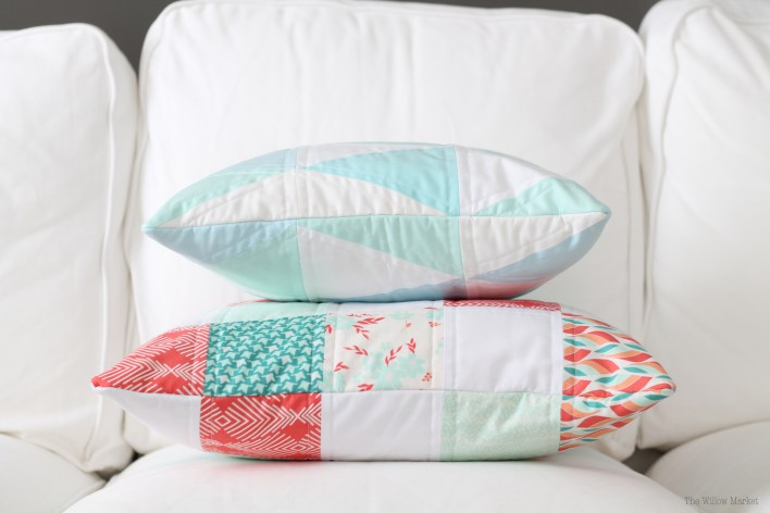 Quilted Pillow Covers in The Willow Market's Etsy Shop.