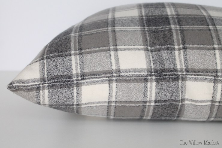 Plaid & Flannel Pillow Cover. Gray and Creamy White.