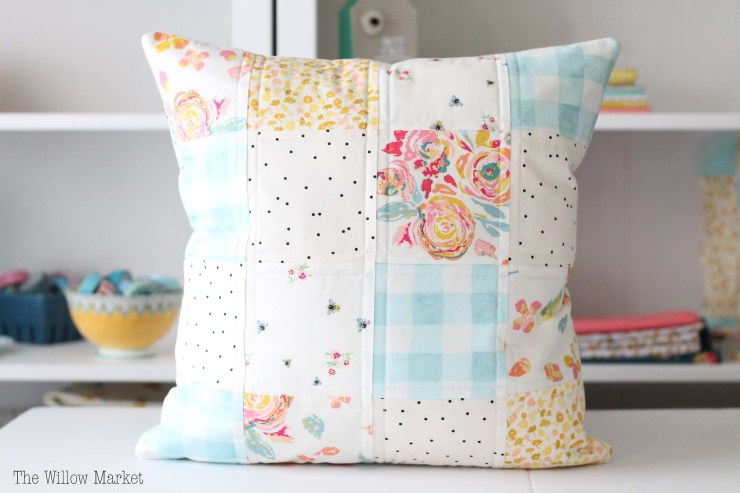 Patchwork pillow cover for sale. Quilted. Floral. Gingham. 18 by 18 inch pillow cover for sale.