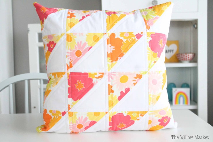 Vintage Pillow Covers, Pink, Purple, Orange, Yellow, Green. Quilted Pillow Cover.