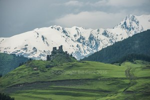 Towers of Omalo beneath the Great Caucasus Mountains