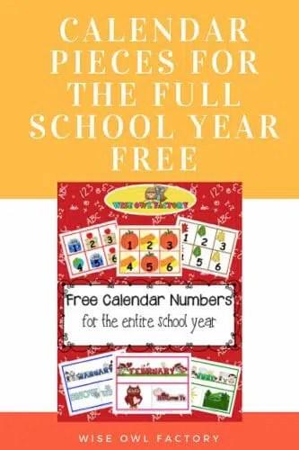Full Year of Calendar Numbers Printable Free PDFs \u2022 Wise Owl Factory