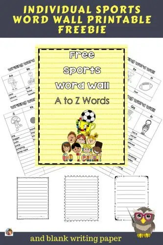 Sports Individual Word Wall for Students Free \u2022 Wise Owl Factory