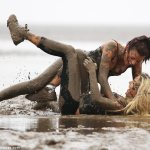 The Only Way Is Essex girls go mud wrestling at boot camp  3