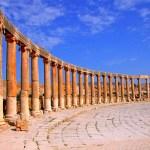 Plaza oval de Jerash / Gerasa en Jordania / Jordan