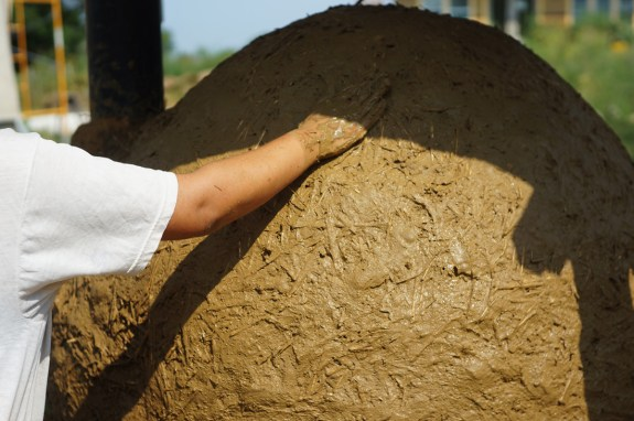 Applying clay slip