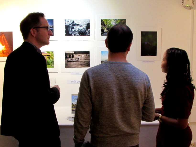 From left to right: Dr. Richard Johns and Chad Elias from the History of Art department and curator Svetlana Leu ©Norman Rea Gallery