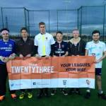 Jake New looks truly thrilled by the concept of 'Your Leagues, Your Way'. Whitehead, Sharman, Dryden, Higgins, Leach (C), New.