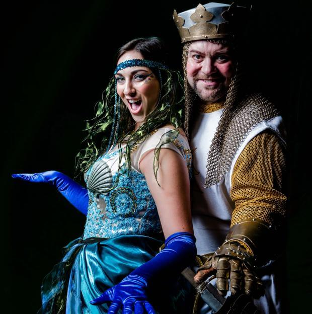 Emily Ramsden as the Lady of the Lake, with Nick Lewis as King Arthur. Photo credit: Matthew Kitchen