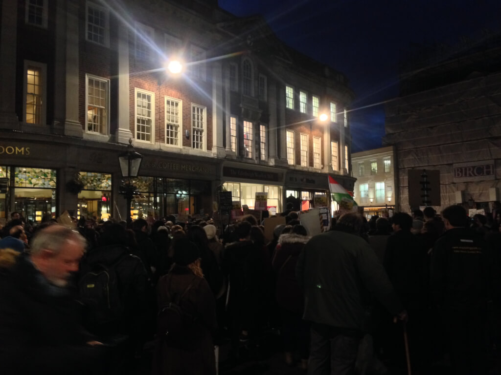Protestors gather in St Helen's Square. Photo credit: Jamie Warner. Image the author's own.