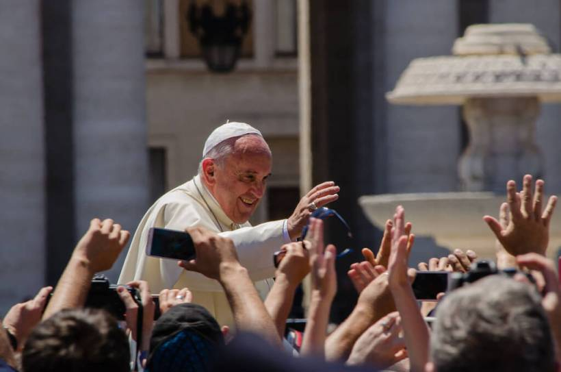 Pope Francis waving in St Peter's square