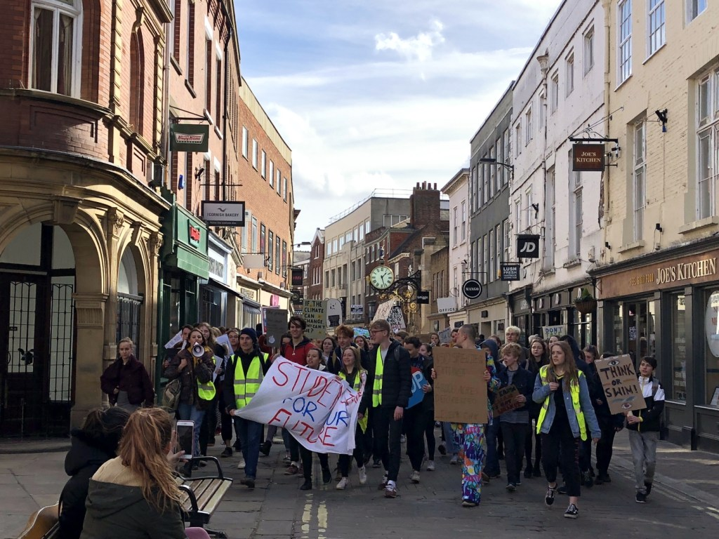 Youth strike for climate march down Coney Street, York.   Credit: Robert Brown, The Yorker