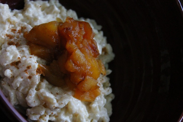Rice pudding topped with Apple compote
