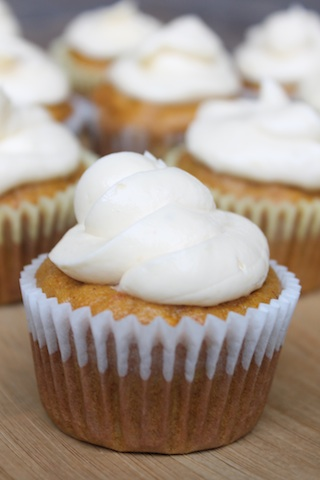Pumpkin and Carrot Cupcakes with Ginger Frosting