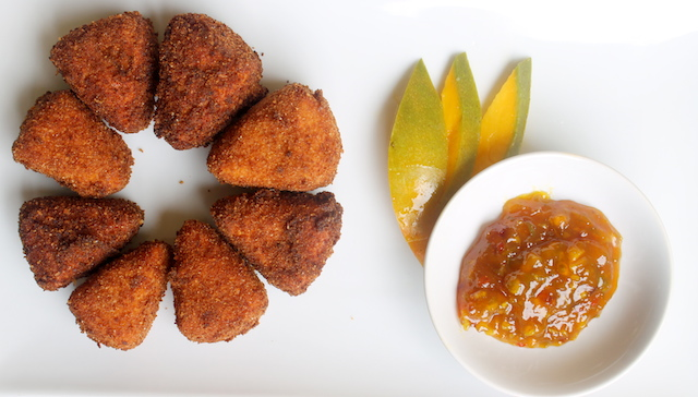Deep Fried Camembert with homemade mango chutney