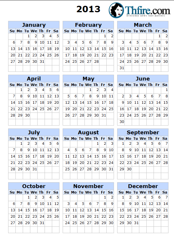 2013 Calendar Printable Thfire