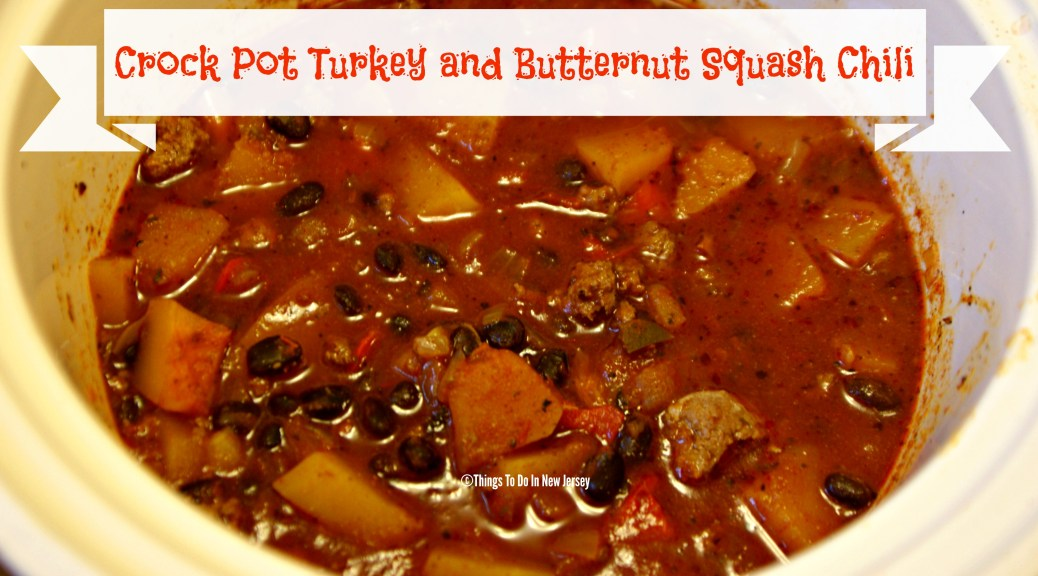 Crock Pot Turkey and Butternut Squash Chili  #tastytuesday @ www.thingstodonewjersey.com   #crockpot #slowcooker #chili #turkey #buttenutsquash #fall #recipe #easy