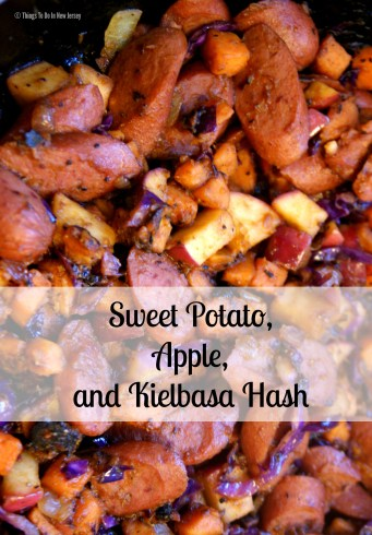 YUM!!! Sweet Potato, Apple, and Kielbasa Hash - This is such a great recipe for a cold day! It's warm and satisfying with just the right combination of sweet and savory flavors - plus it's super quick and easy to make!!! | Get the recipe at www.thingstodonewjersey.com | #sweetpotato #apple #hash #kielbasa #comfortfood #fall #winter #recipes