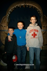 "My boys about to be ""eaten"" by a megalodon at the Adventure Aquarium in Camden, New Jersey 