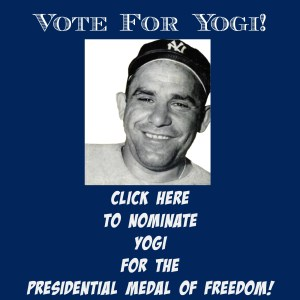 Award Yogi Berra The Presidential Medal of Freedom for his military service and civil rights and educational activism. | find out more at www.thingstodonewjersey.com | #nj #newjersey #montclair #yogiberra #famouspeople #baseball #essexcounty
