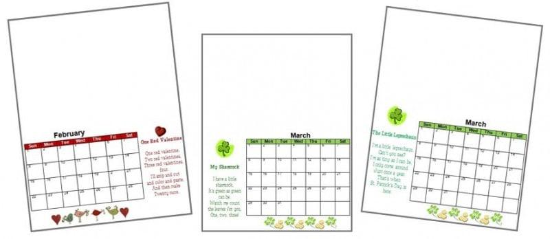 2017 Handprint Calendar Template Printable - kids calendar template