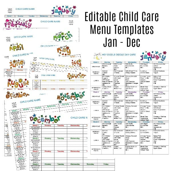 Editable Monthly Child Care Menu Templates Jan-Dec » Share