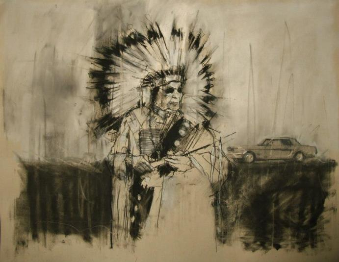 """""""AIM, the second battle of Wounded Knee (February 1973)"""" conte and pastel on paper 66 x 55 cm 28th February 2013"""
