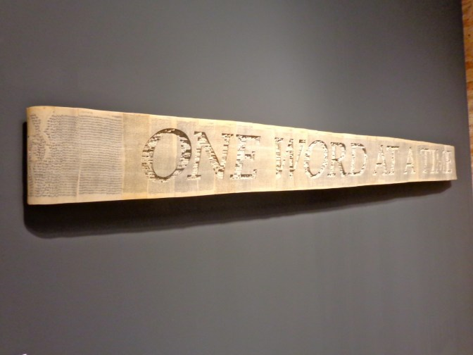 """""""One Day at a Time,"""" 2012 (paperback books, acrylic varnish)  by Brian Dettmer represented by Kinz + Tillou, NY"""
