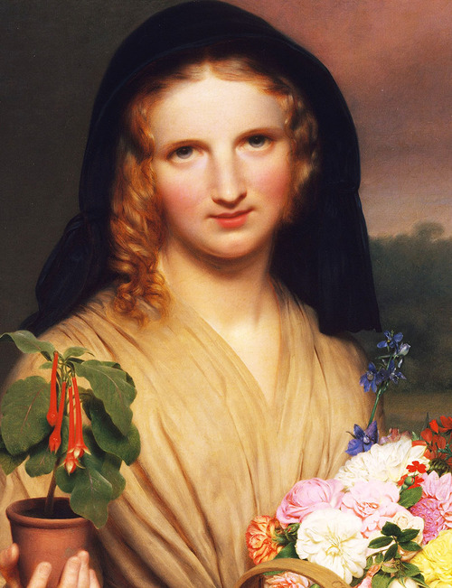 "Charles Cromwell Ingham. Detail from ""The Flower Girl,"" 1846. Image via Jaded Mandarin."