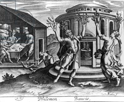 Philemon and Baucis, from an edition of the Metamorphoses of Ovid, published in Paris in 1619, (engraving)