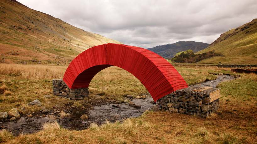 Steve Messam, PaperBridge, May 8-18, 2015, At the top of the Grisedale Valley, Patterdale, Cumbria, UK, 20,000 sheets of paper, four tons of found stone 16.4 x 5.9 x 2.95 feet