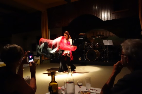 There is Turkish influence on their music, food and perhaps on habits. Belly dance in Athens Restaurant.