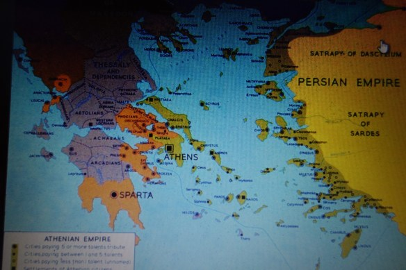 Greek Map of City States and Persian Empire In 500 BC