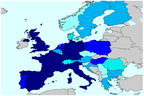 Numbers of CC licenses in Europe