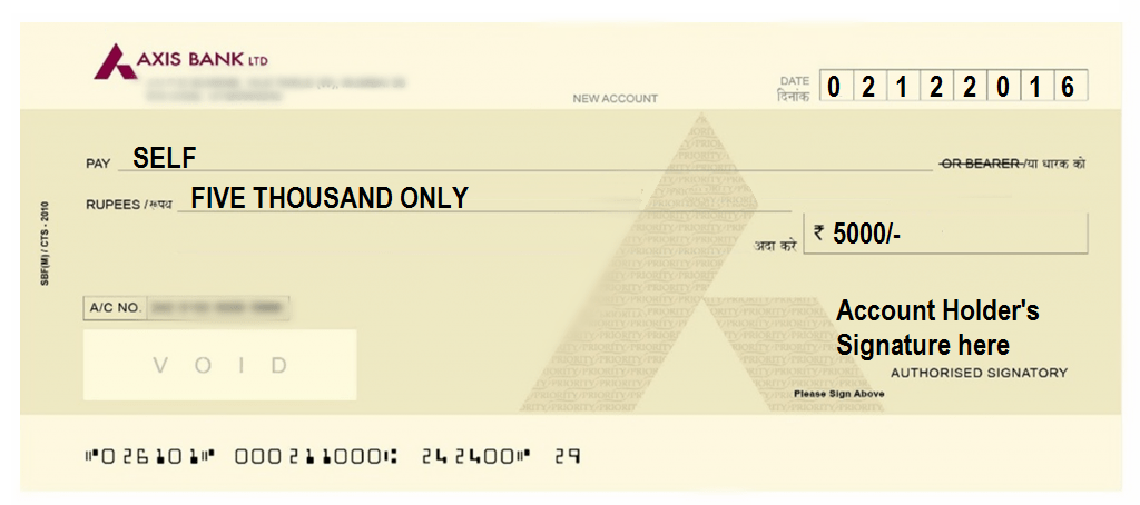 How To Write A Cheque In Axis Bank Self Account Payee