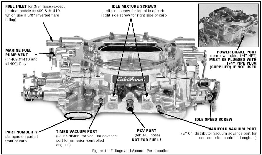 which vacuum line is for timing on an edelbrock carb? - Third