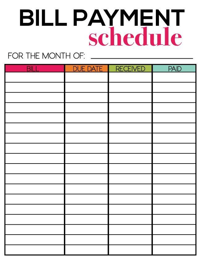 free printable bill calendar templates