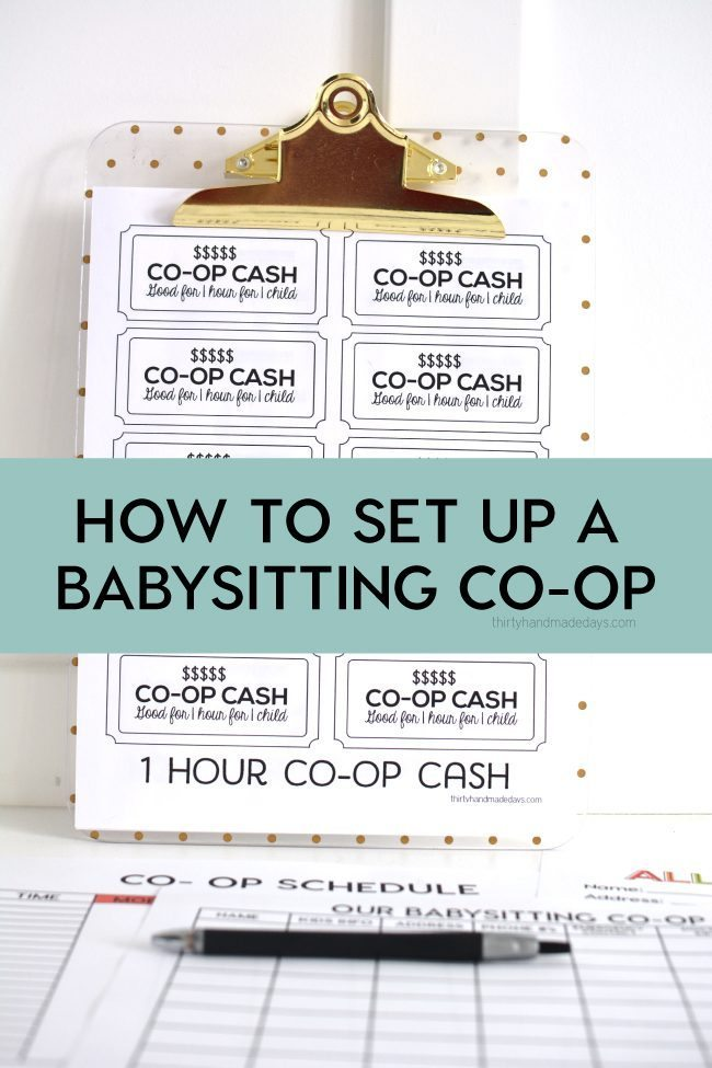 How to Set Up a Babysitting Co-op with Printables - Thirty Handmade Days